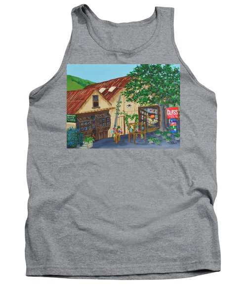 Tank Top featuring the painting Glass Blower Shop Harmony California by Katherine Young-Beck