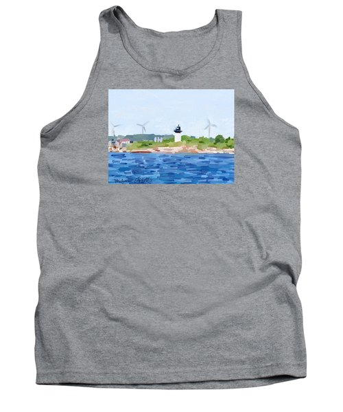 Gloucester Skyline From Harbor With Windmills And Ten Pound Island Lighthouse Tank Top