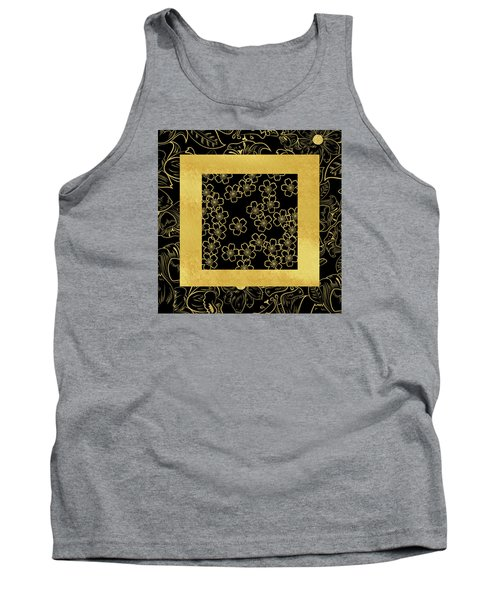 Gold And Black Tank Top by Bonnie Bruno