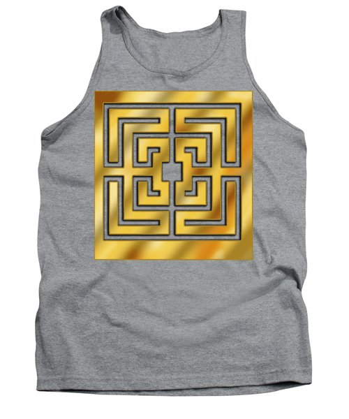Tank Top featuring the digital art Gold Geo 3 - Chuck Staley by Chuck Staley