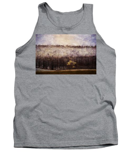 Gold Leafed Tree In Snow Tank Top