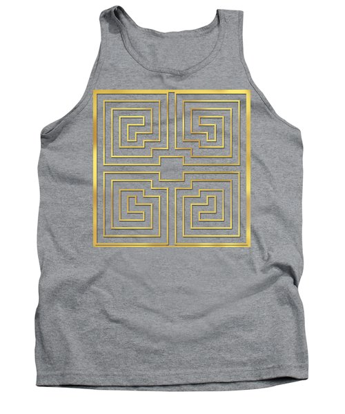 Tank Top featuring the digital art Gold Stripes Transparent by Chuck Staley