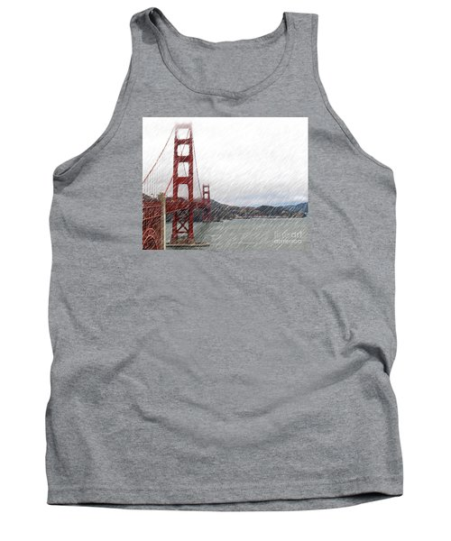 Tank Top featuring the photograph Golde Gate Rain by Cheryl Del Toro