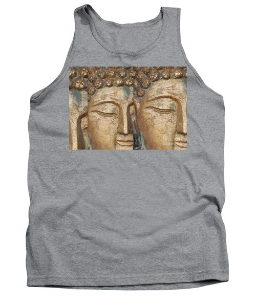 Golden Faces Of Buddha Tank Top by Linda Prewer
