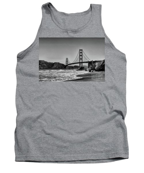 Golden Gate Bridge Black And White Tank Top by Peter Dang