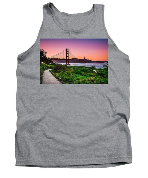 Golden Gate Bridge San Francisco California At Sunset Tank Top