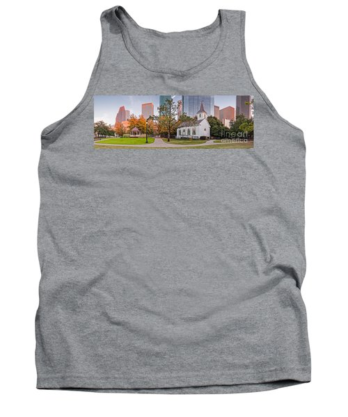 Golden Hour Fall Panorama Of Downtown Houston And St. John Church At Sam Houston Park - Texas Tank Top