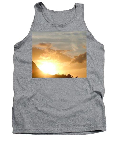 Golden Oahu Sunset Tank Top by Karen J Shine