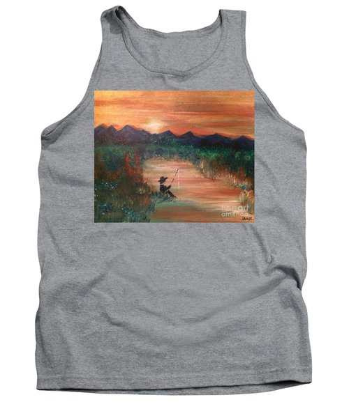 Tank Top featuring the painting Golden Sunset by Denise Tomasura