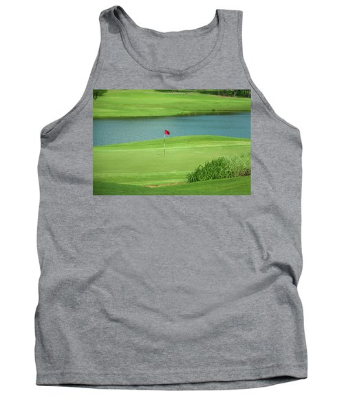 Golf Approaching The Green Tank Top by Chris Flees