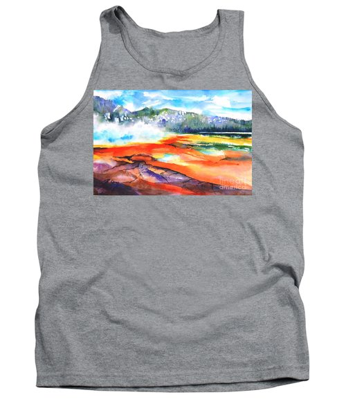 Grand Prismatic Hot Spring Tank Top by Betty M M Wong