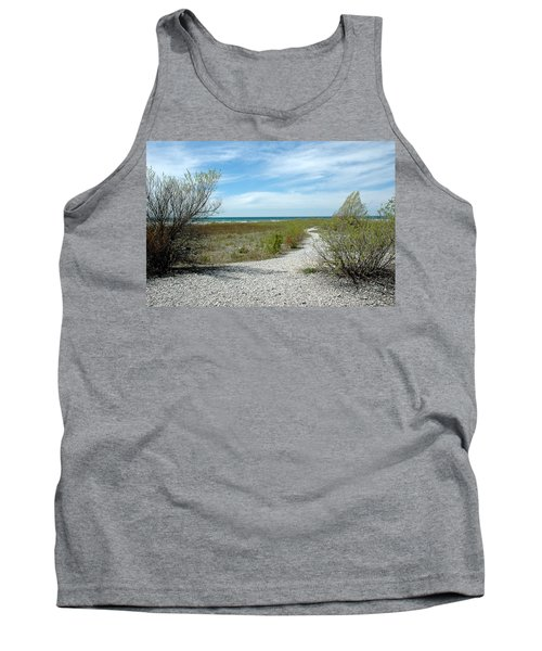 Tank Top featuring the photograph Grand Traverse Bay Path by LeeAnn McLaneGoetz McLaneGoetzStudioLLCcom