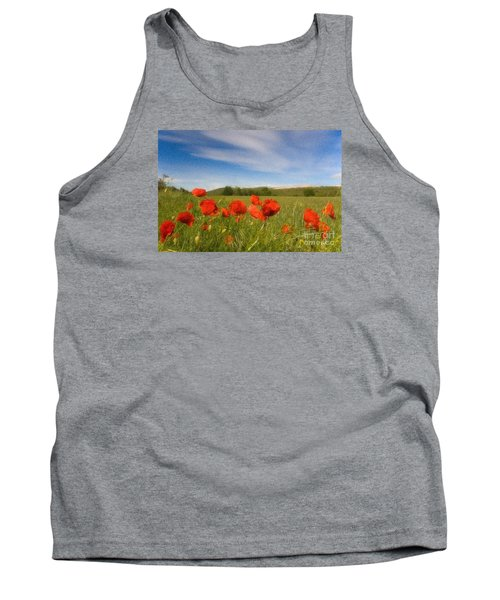 Tank Top featuring the photograph Grassland And Red Poppy Flowers by Jean Bernard Roussilhe