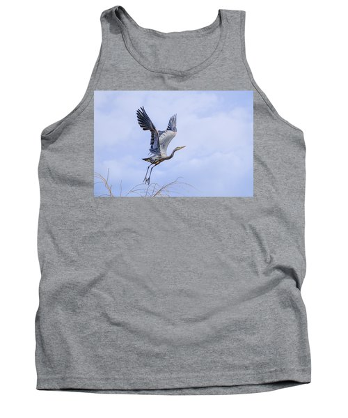 Great Blue Heron In Flight Tank Top by Keith Boone