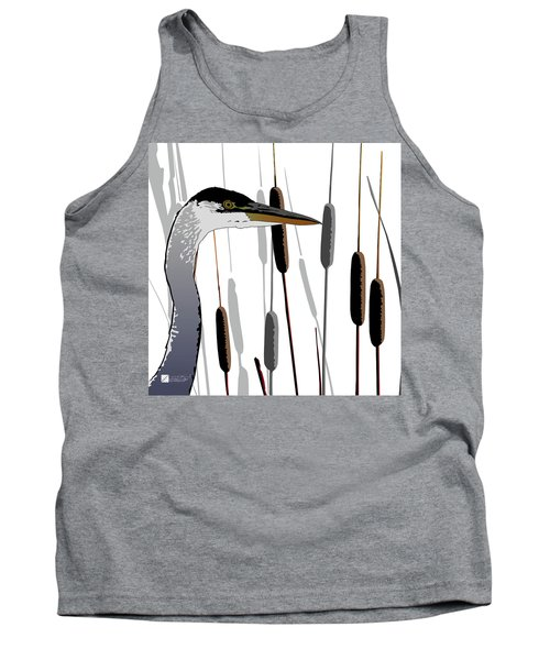 Great Blue Heron - Light Background Tank Top