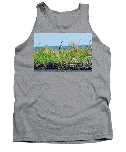 Great Blue Heron On Jetty Tank Top