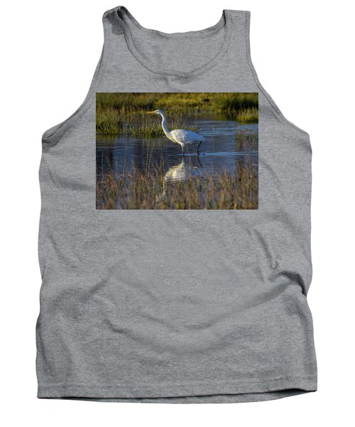 Great Egret, Ardea Alba, In A Pond Tank Top