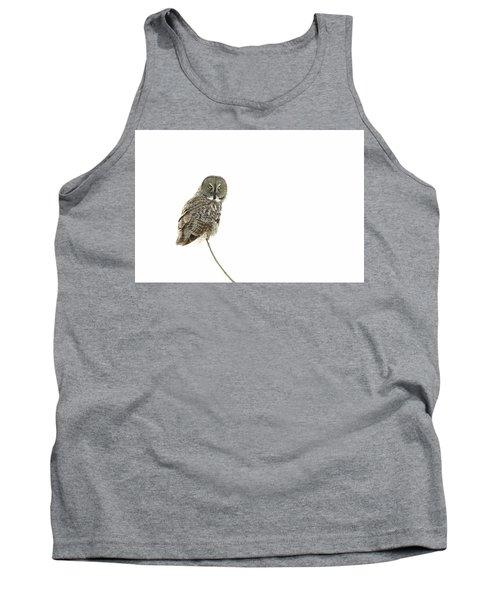 Tank Top featuring the photograph Great Grey Owl On White by Mircea Costina Photography