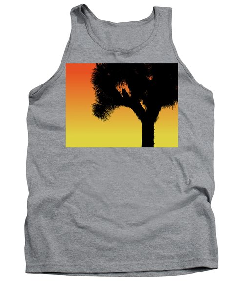 Great Horned Owl In A Joshua Tree Silhouette At Sunset Tank Top