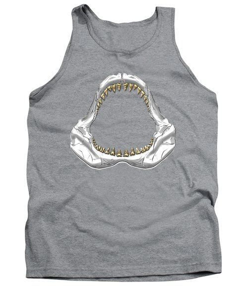 Great White Shark - Silver Jaws With Gold Teeth On White Canvas Tank Top