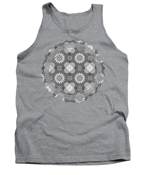 Grey Circles And Flowers Pattern Tank Top