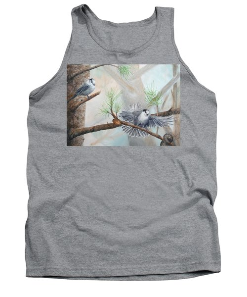 Grey Jays In A Jack Pine Tank Top