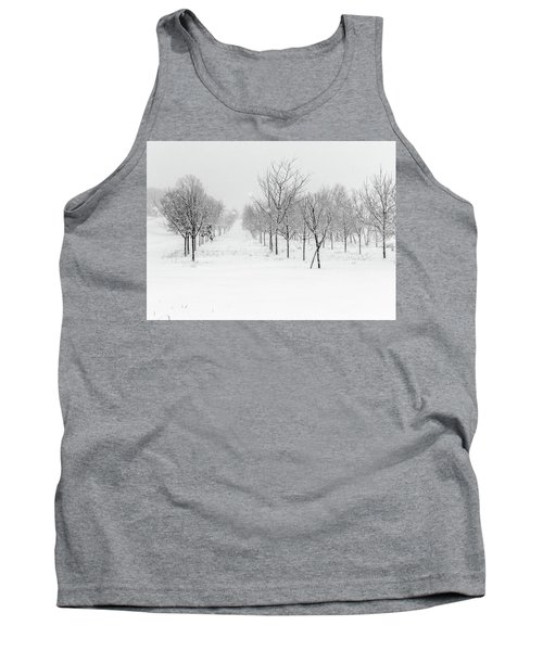 Grove Of Trees In A Snow Storm Tank Top
