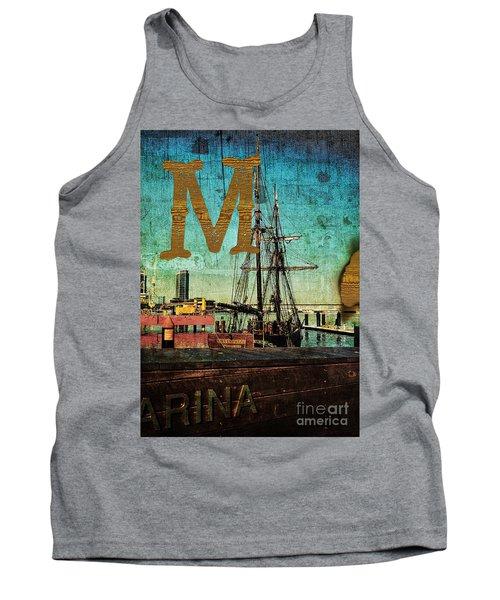 Grungy Melbourne Australia Alphabet Series Letter M Marina Dockl Tank Top