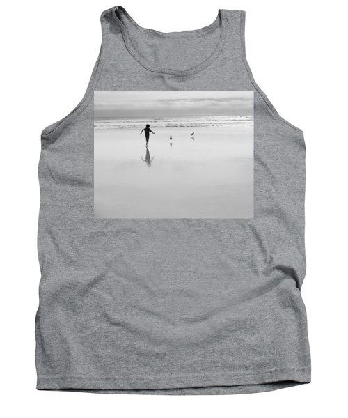 Tank Top featuring the photograph Gull Chasing 101 by Lora Lee Chapman