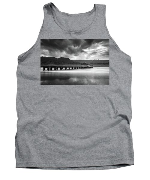 Hanalei Pier In Black And White Tank Top