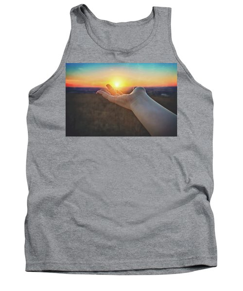 Hand Holding Sun - Sunset At Lapham Peak - Wisconsin Tank Top by Jennifer Rondinelli Reilly - Fine Art Photography