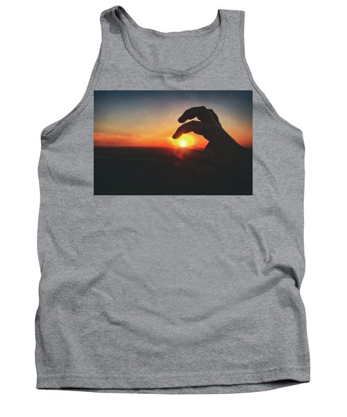 Hand Silhouette Around Sun - Sunset At Lapham Peak - Wisconsin Tank Top by Jennifer Rondinelli Reilly - Fine Art Photography