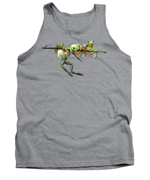 Hang In There Froggies Tank Top by Elaine Plesser