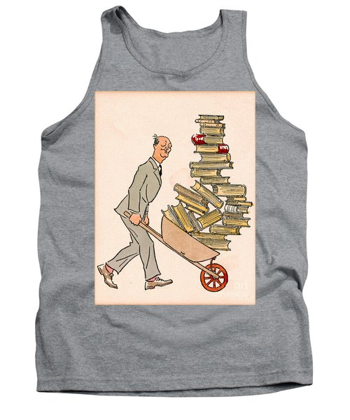 Tank Top featuring the drawing Happy Bibliophile 1930 by Padre Art
