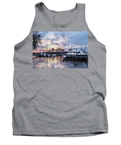 Happy Hour Sunset At Bluewater Bay Marina, Florida Tank Top