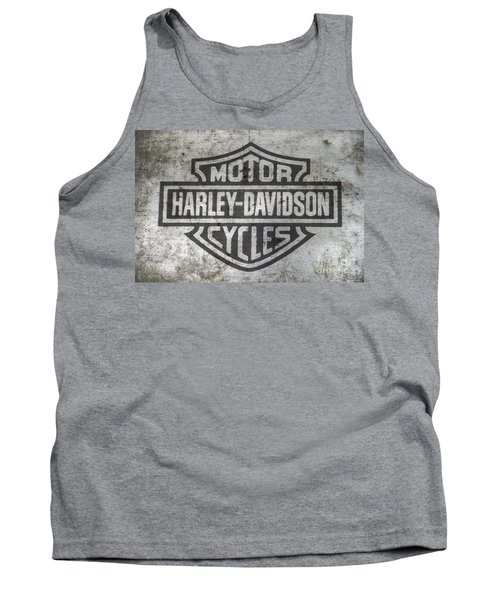 Harley Davidson Logo On Metal Tank Top by Randy Steele