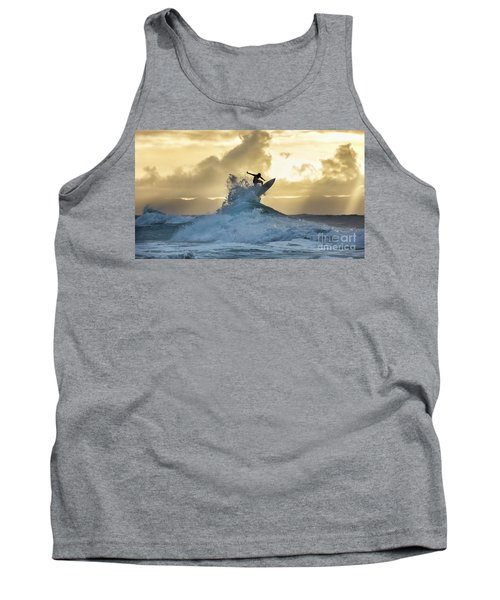 Hawaii Surfing Sunset Polihali Beach Kauai Tank Top
