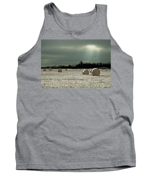 Hay Bales In The Snow Tank Top by Judy Johnson