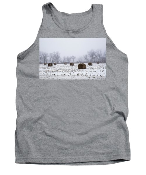 Hay Bales In The Snow Tank Top