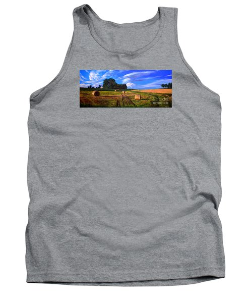 Hay Rolls On The Farm By Christopher Shellhammer Tank Top