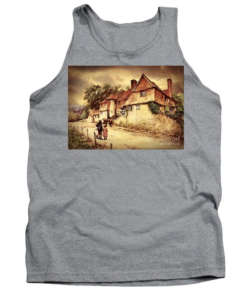 Tank Top featuring the digital art Hazelmere Cottage - English Lake District by Lianne Schneider