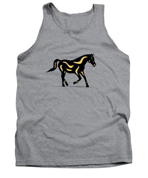 Heinrich - Pop Art Horse - Black, Primrose Yellow, Hazelnut Tank Top