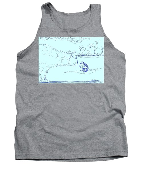 Tank Top featuring the drawing Hello Birdie by Denise Fulmer