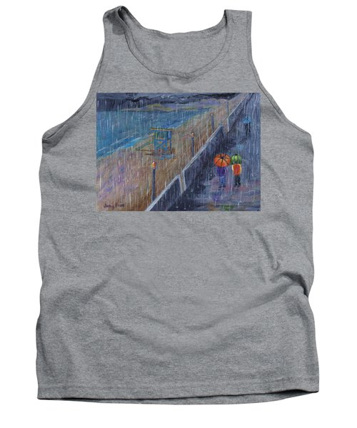 Tank Top featuring the painting Hermosa Beach Rain by Jamie Frier