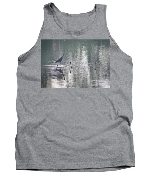 Tank Top featuring the photograph Heron In Pastel Waters by Skip Willits