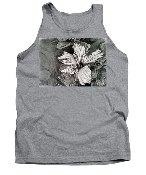 Tank Top featuring the drawing Hibiscus by Terri Mills