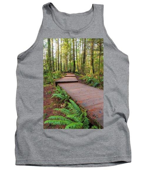 Hiking Trail Wood Walkway In Lynn Canyon Park Tank Top
