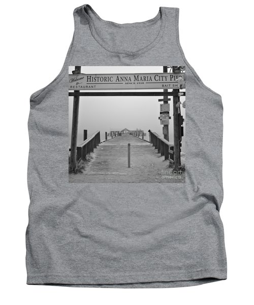 Historic Anna Maria City Pier In Fog Infrared 52 Tank Top