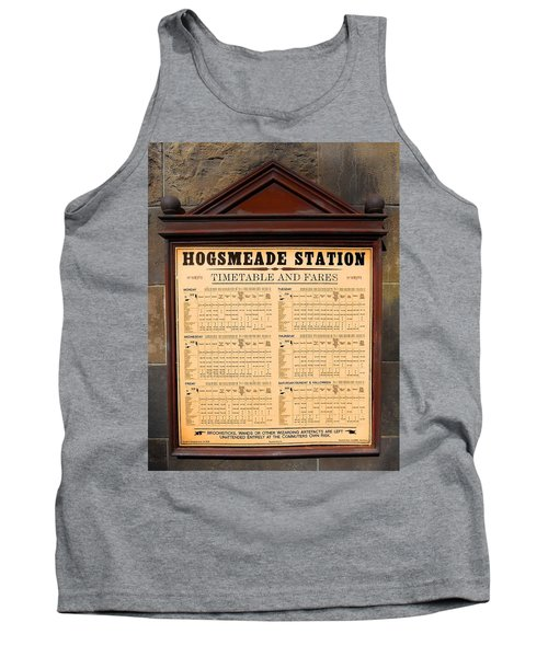 Tank Top featuring the photograph Hogsmeade Station Timetable by Juergen Weiss
