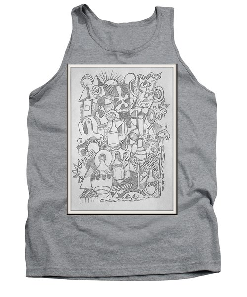 Tank Top featuring the drawing Holiday Thoughts by Rosemary Colyer
